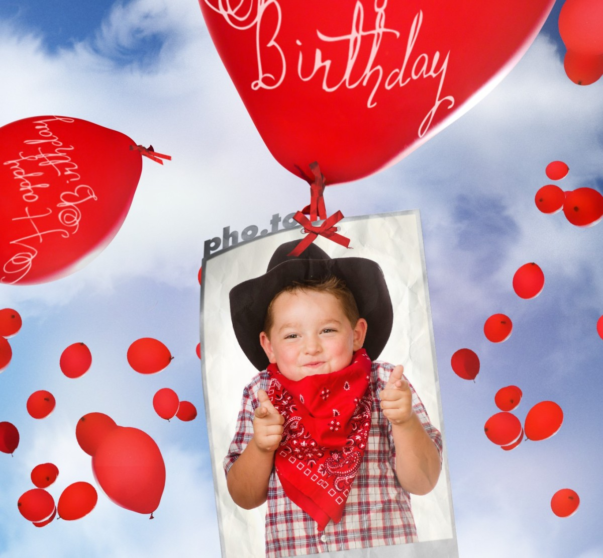 Birthday ecard with Birthday Balloons. Printable template.