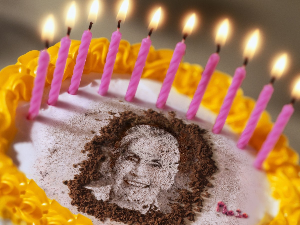 Birthday cake with photo of a grandmother is made by birthday photo editing.