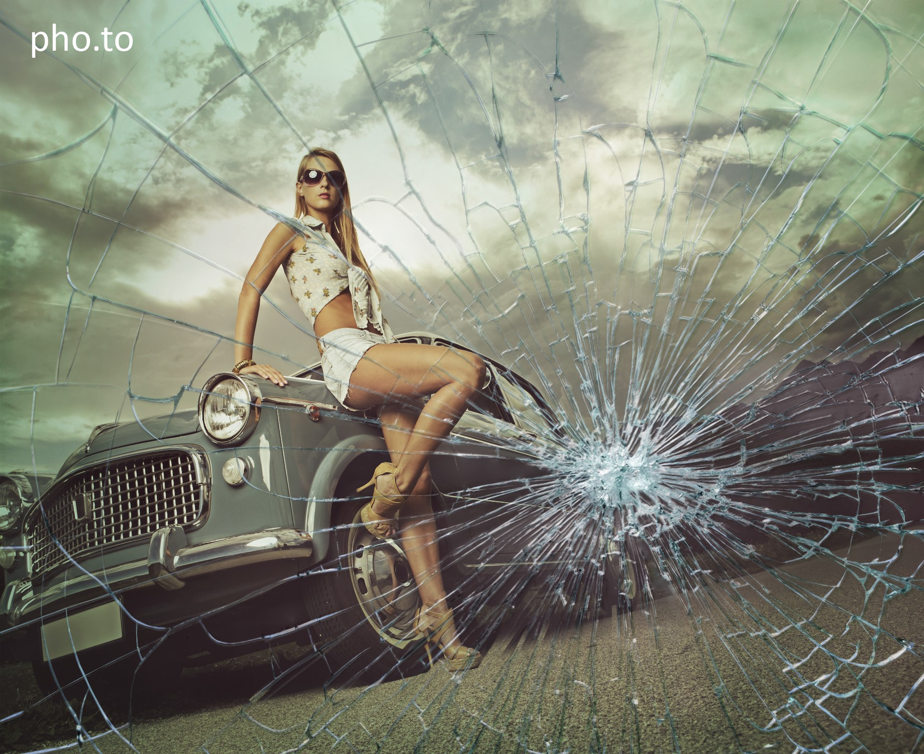 Broken glass texture added online to a photo of a fashion model.
