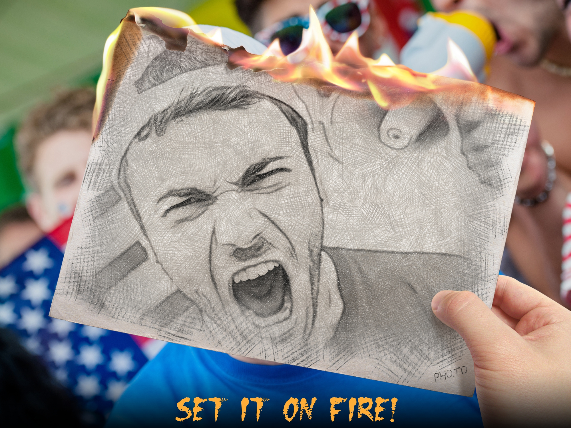 Artistic sketch portrait of a football fan is set on fire