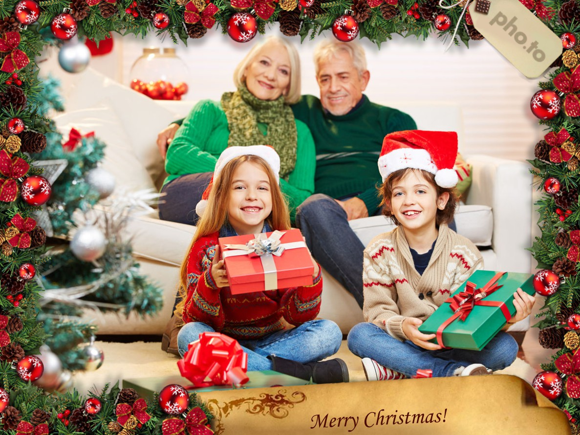 Get your family photo decorated with merry christmas photo frame online.