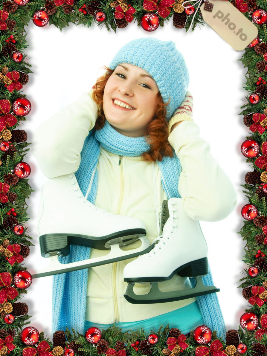 Girl's photo framed with Xmas ornaments makes a nice personalized Christmas ecard.