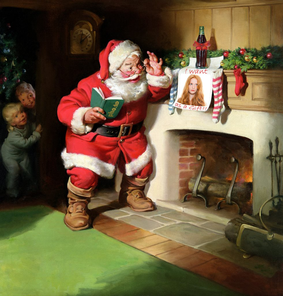 Christmas scene with Santa Claus and girl's photo over the fireplace