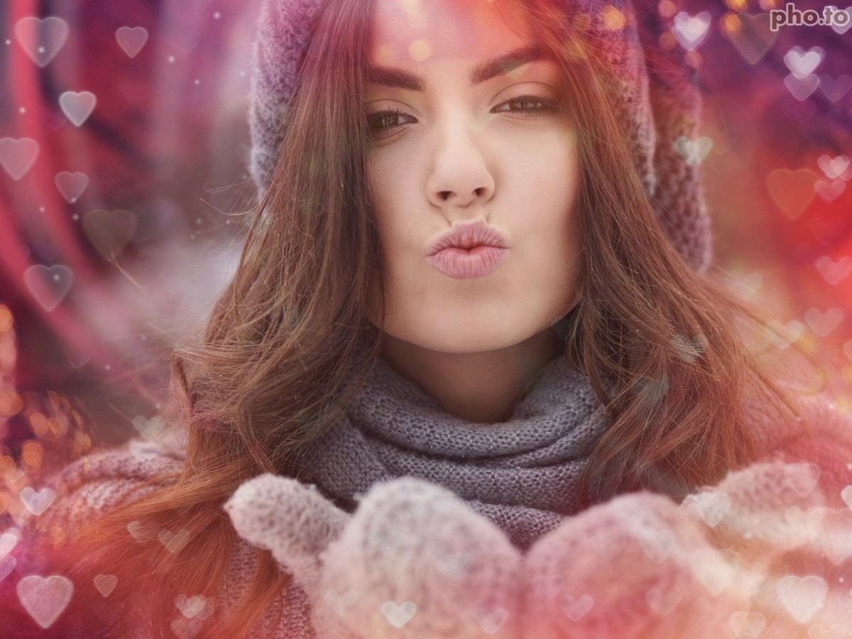 Photo of an air-kissing girl adorned with heart bokeh effect