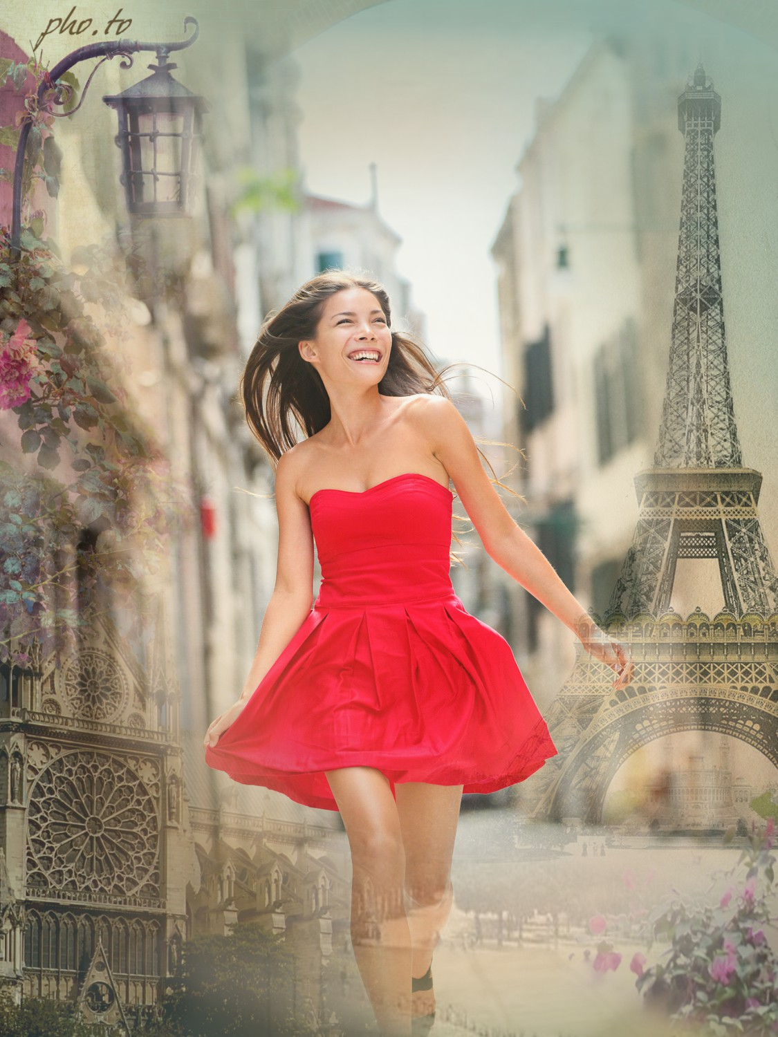 A girl's photo background has been replaced with romantic Paris effect.