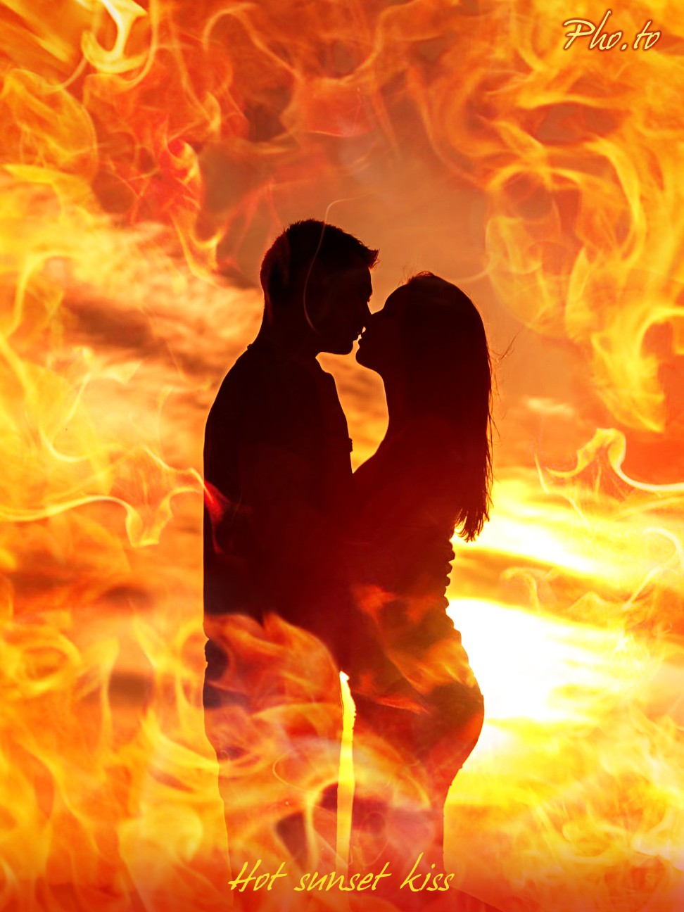Emphasize inner passion of your romantic photo adding it a touch of fire