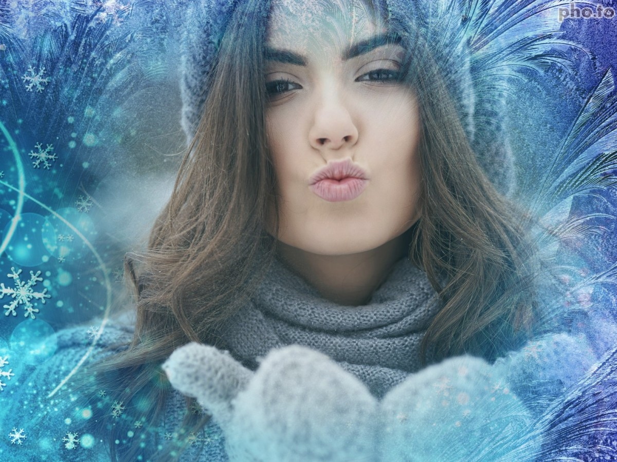 Background in a girl's photo is replaced with a frozen photo background.