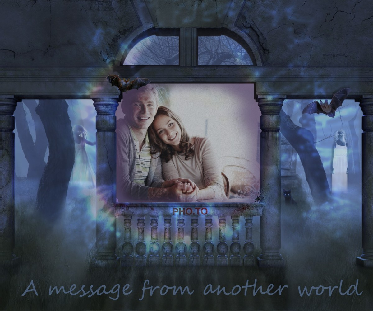 Online bogey photo frame with ghosts for Halloween