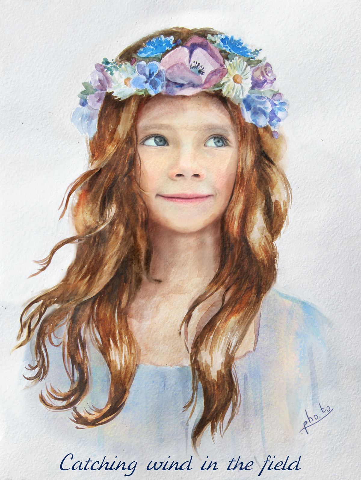 Watercolor painting of a pretty little girl with a flower crown wreath