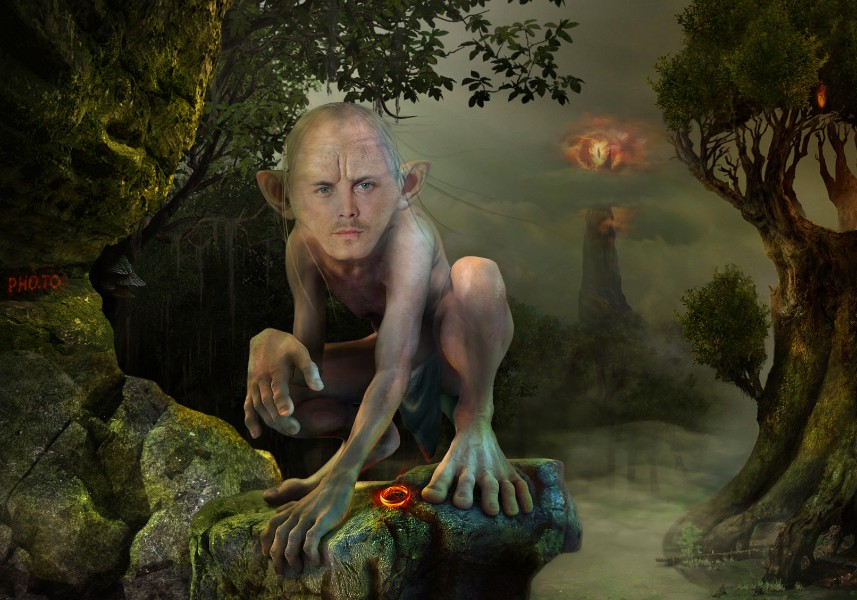A funny Gollum poster made of a portrait photo with the help of 'face in hole maker'.