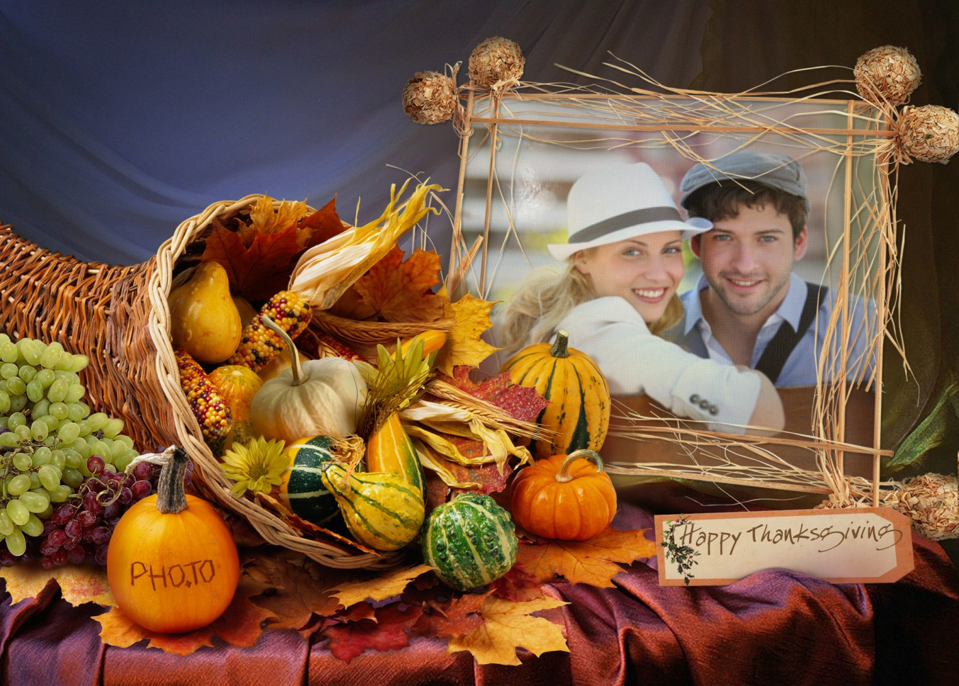 Thanksgiving greeting card with holiday table decorations for family.