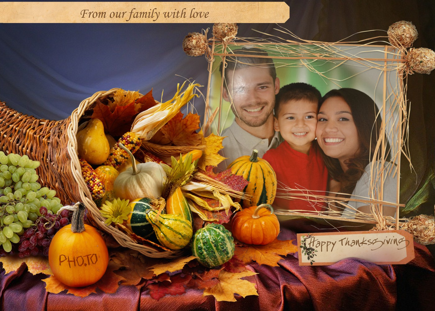 Put your photo into thanksgiving card template to get a perfect ecard.