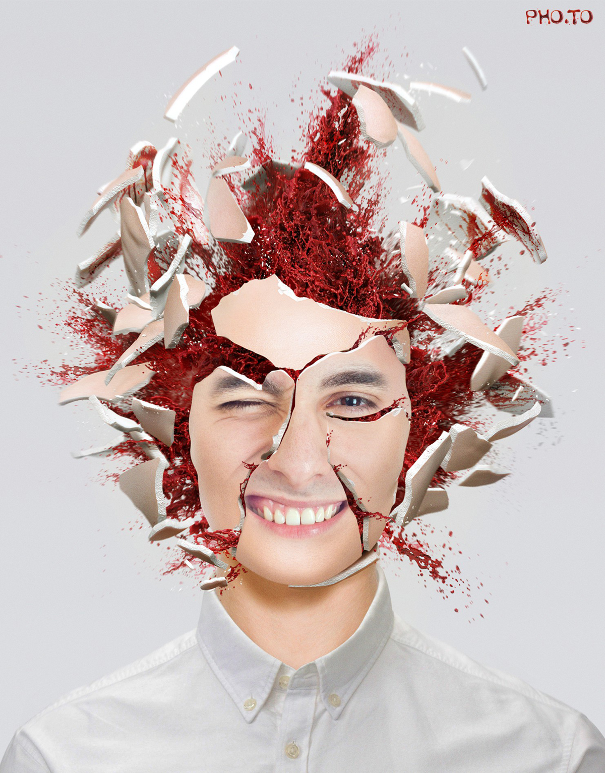 Scary photo effect with exploding brain.