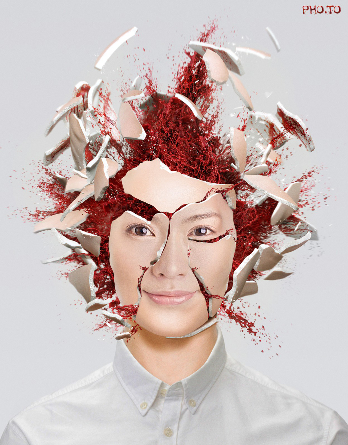 Head explosion photo effect for the Halloween season.
