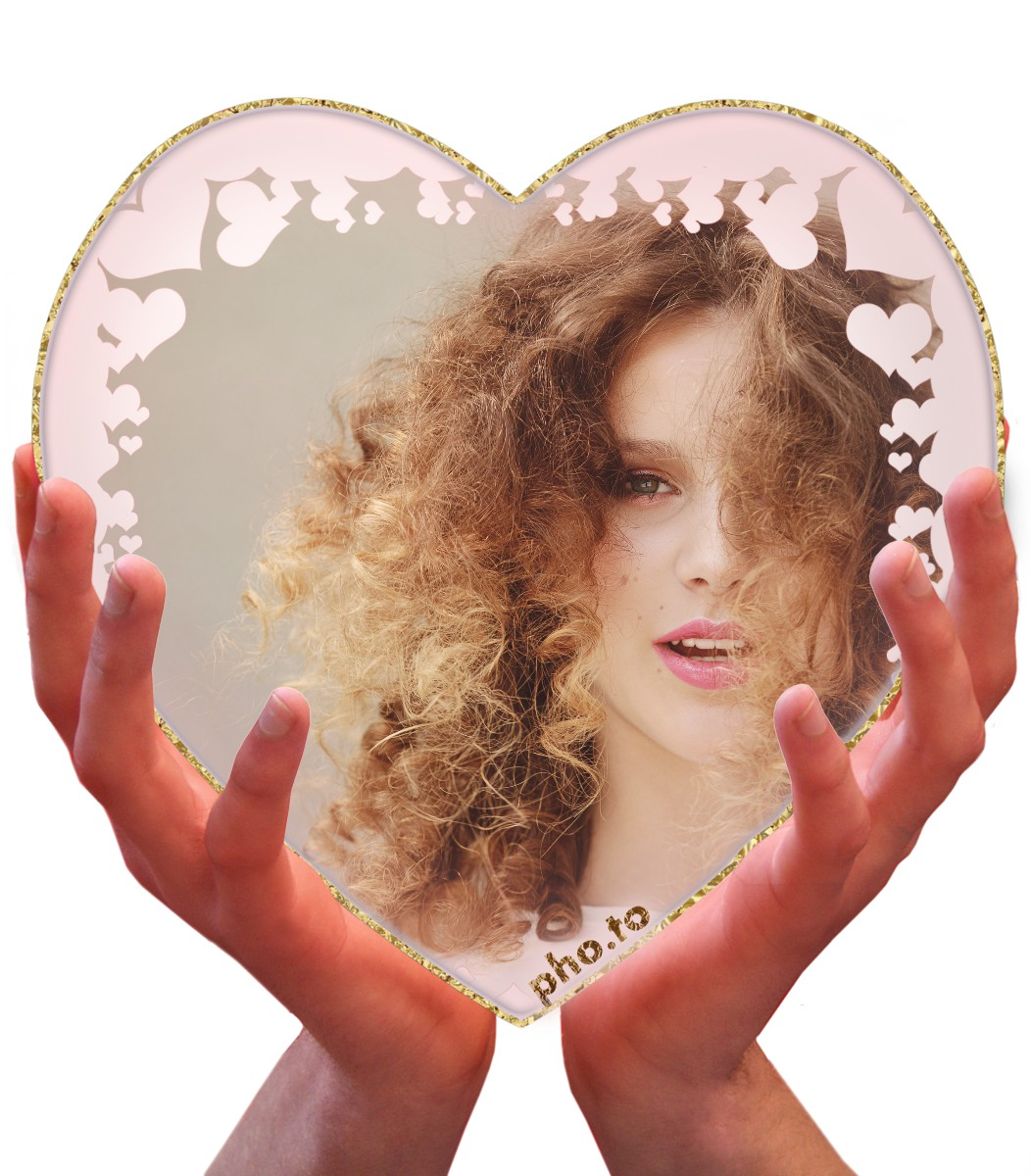 A lovely ecard for a girlfriend: her photo in this sweet heart frame.