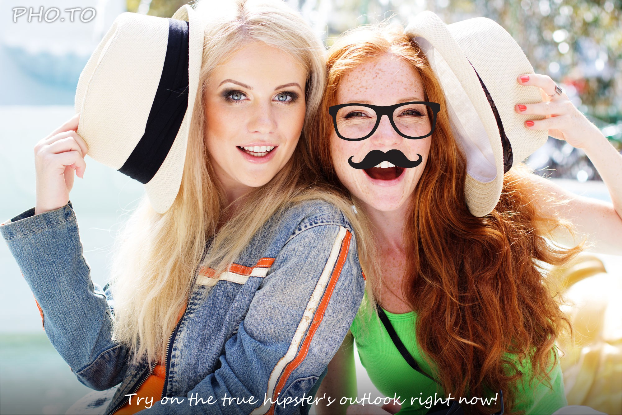 Glasses and mustache are added to a photo of laughing girls.