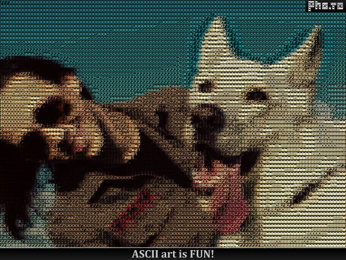 A picture of a girl with a dog edited with an image to text photo effect.