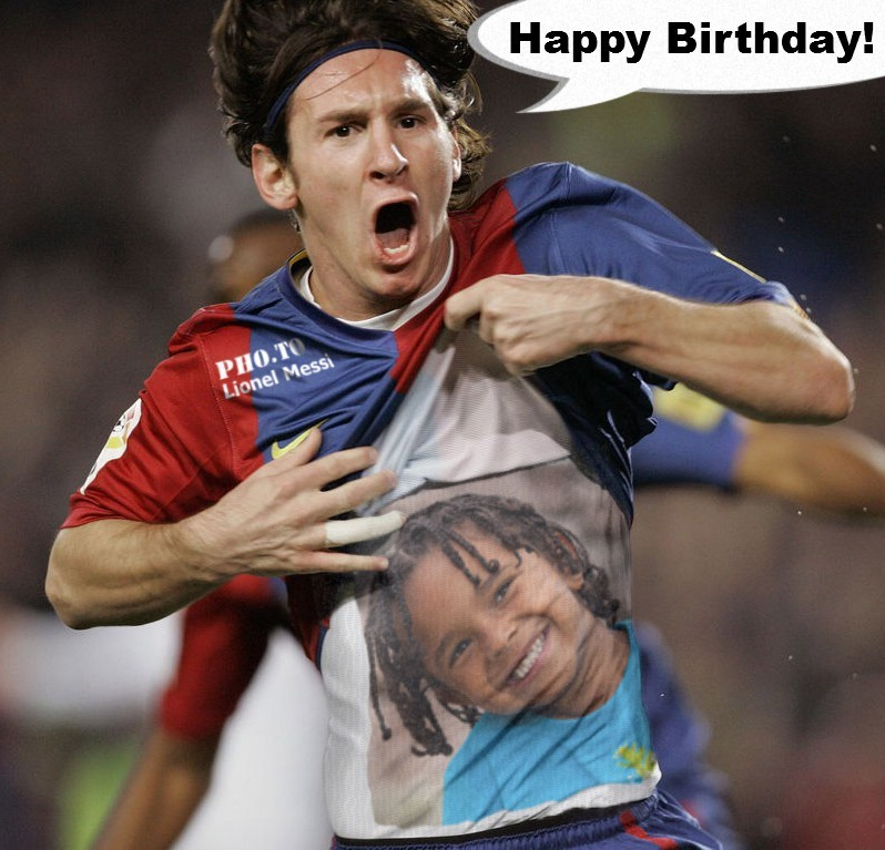 A boy's face is painted on Lionel Messi t shirt via photo montage maker.