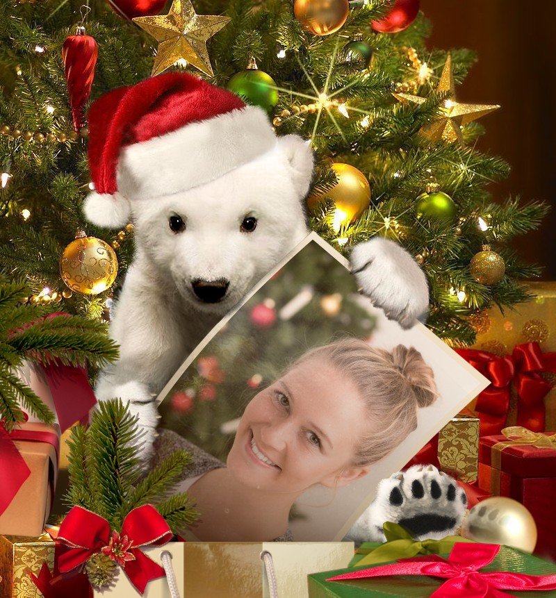 Cute online Christmas greeting card, made out of the pretty girl's photo.