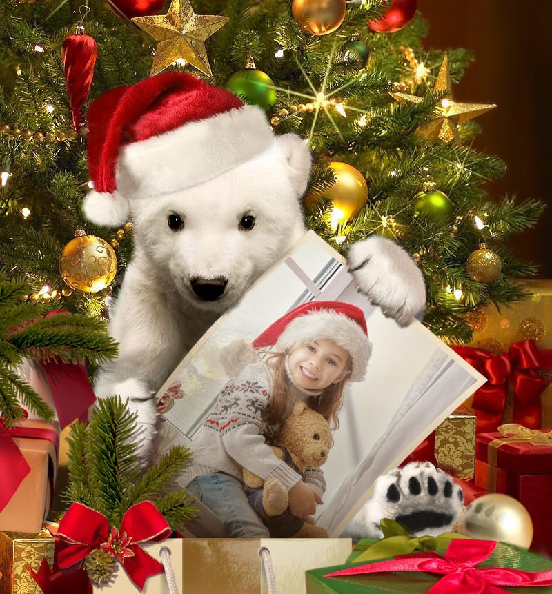 A photo of a small girl is inserted in a Christmas frame with little polar bear online