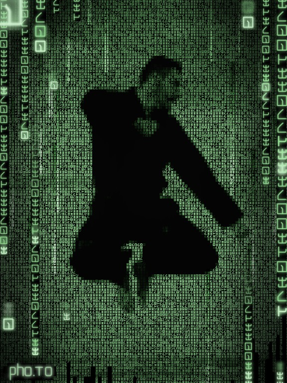 Matrix photo effect applied to a man's silhouette.