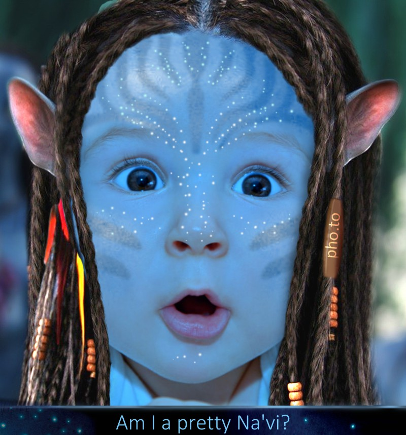 A sweet kid's portrait is avatarized with with the Na'vi face creator
