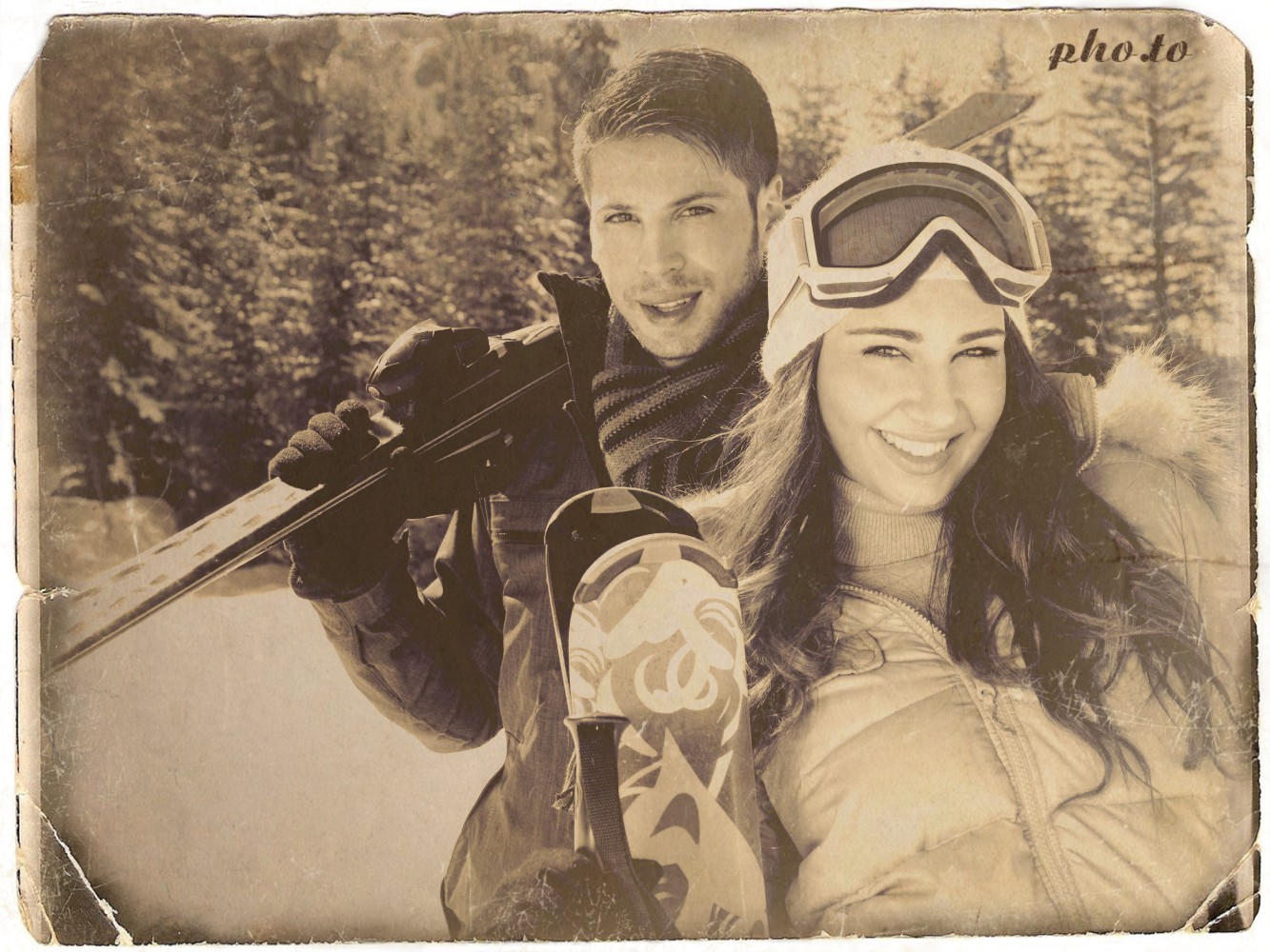 A picture of a couple in the mountains is turned into old photo card.