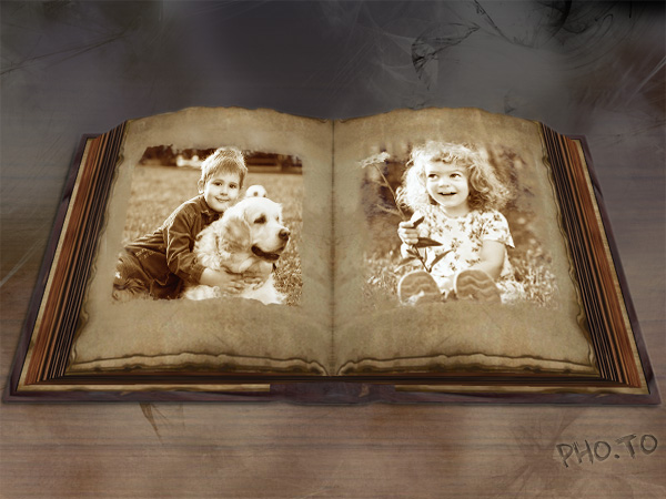 Online collage creator with vintage effect for exposing photos.