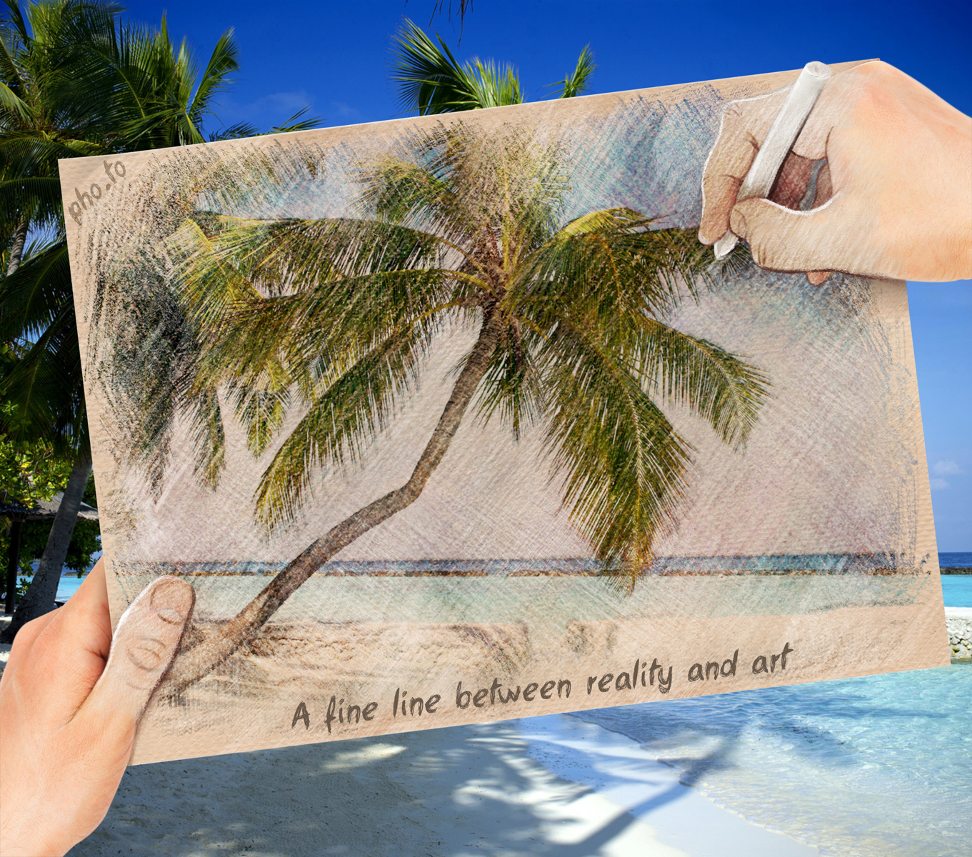 Tropical beach landscape converted to a creative pastel painting.