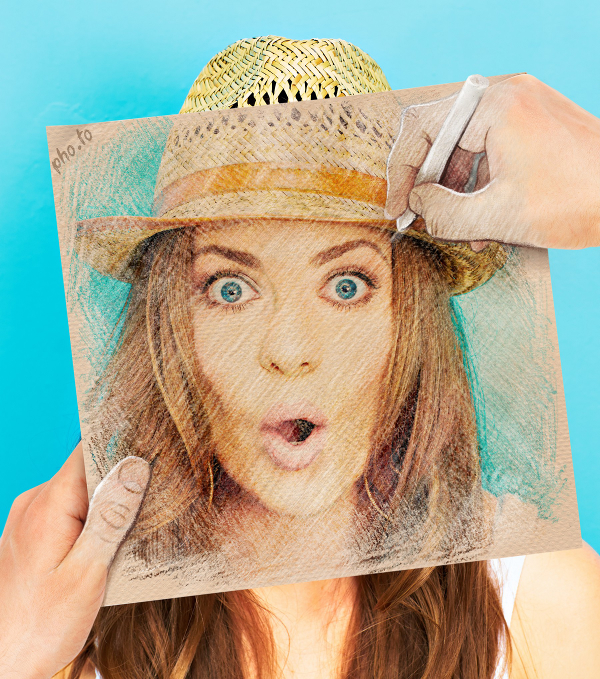 Creative picture of a girl in Ben Heine's style with inner part drawn in pastel.