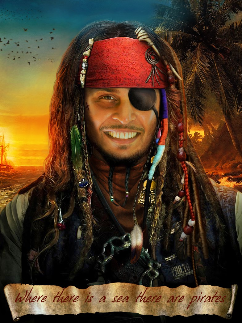 Put your face on a body of ??aribbean pirate
