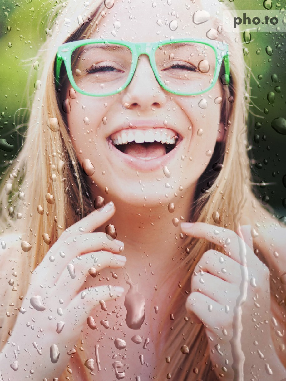 Adding rain drops to a photo of a girl was easy.