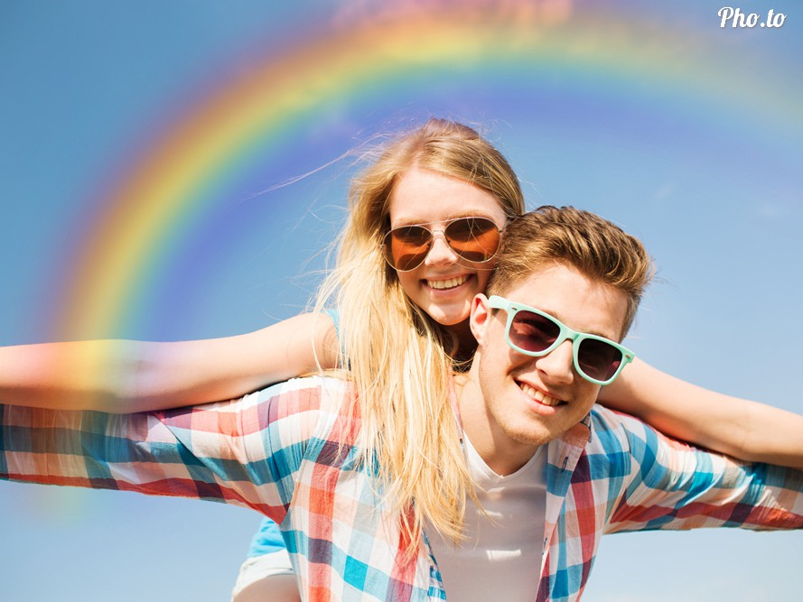 Photo of a loving couple overlaid with a rainbow effect.