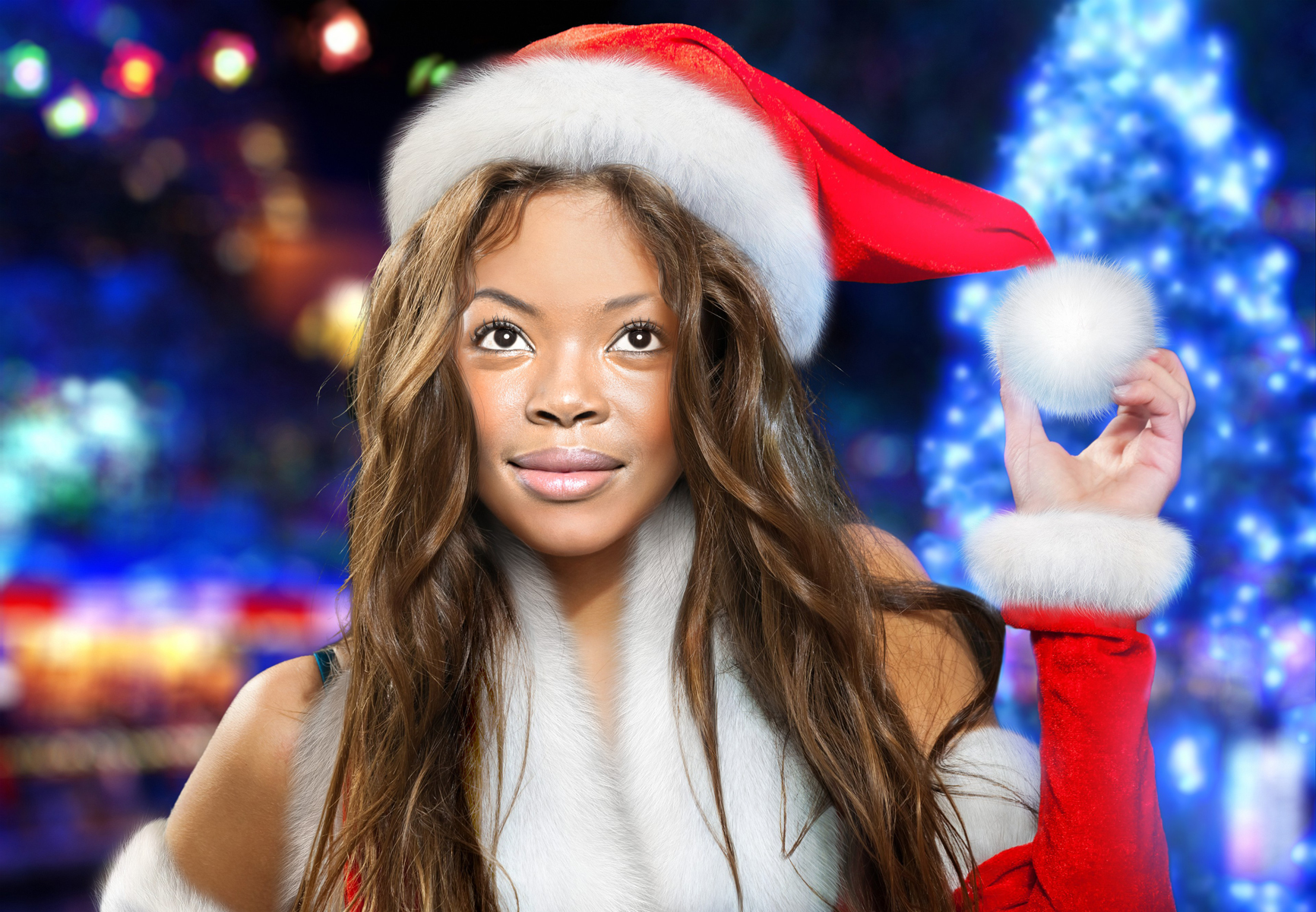 A girl has turned herself into a pretty Santa girl online