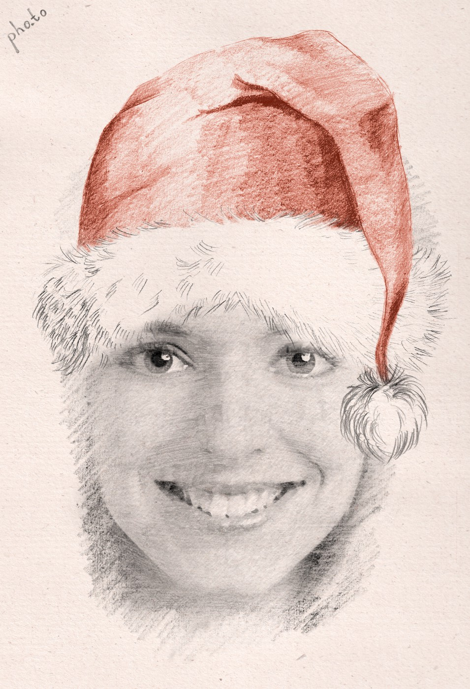 Funny Christmas sketch of a girl wearing red Santa hat.