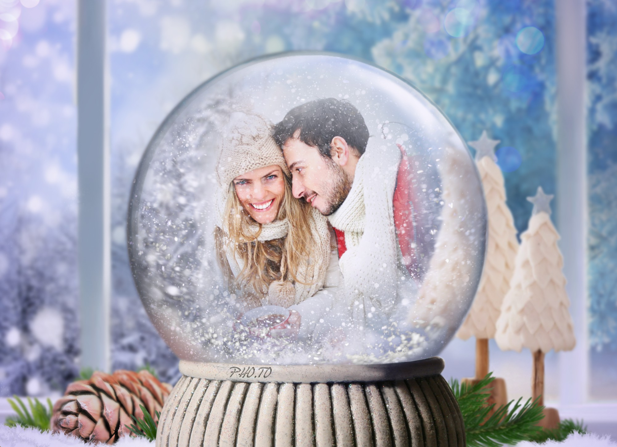 Romantic Christmas Snow Globe with a photo of a couple in love