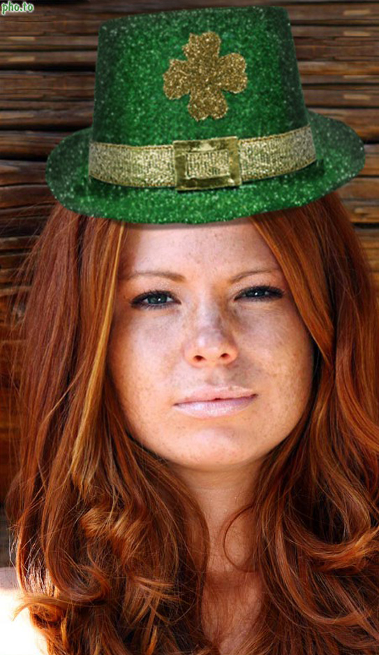 A girl's photo in irish top hat got turned into a St Patrick's Day card.