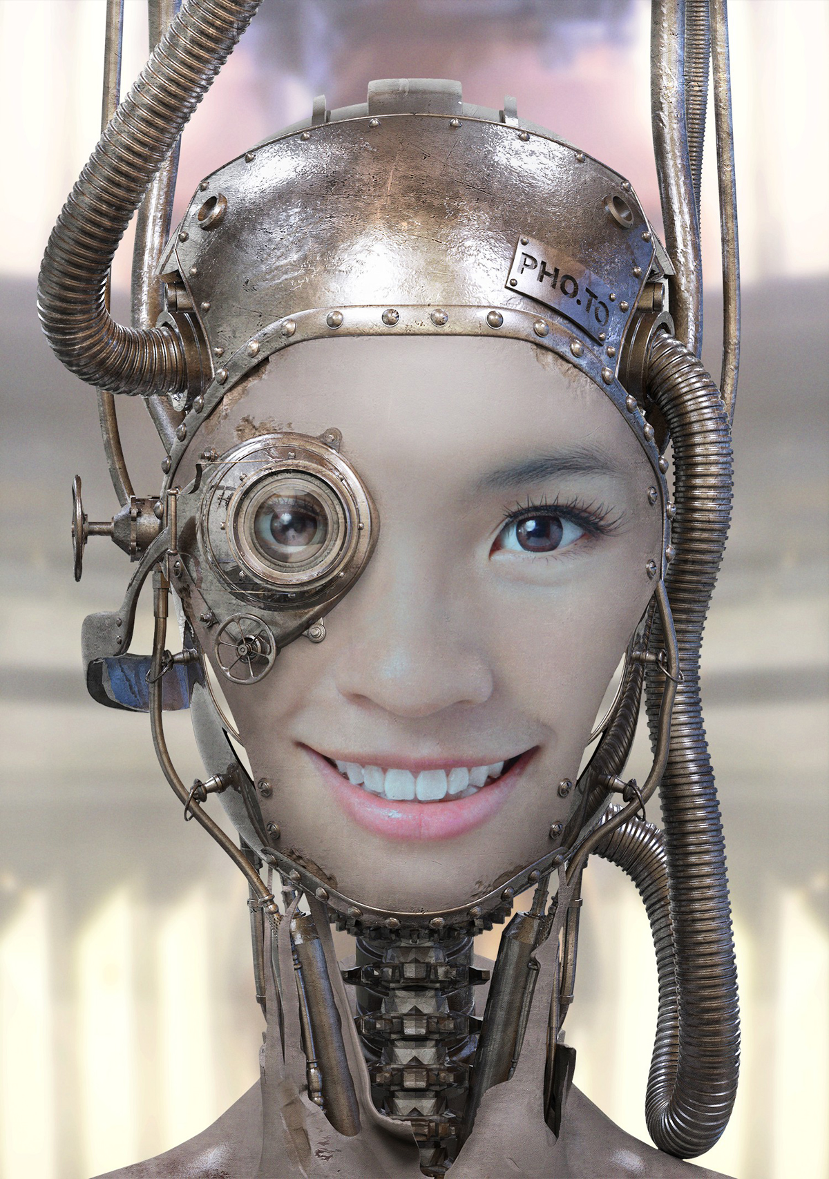 Turn yourself in a portrait photo into a droid with robot face effect