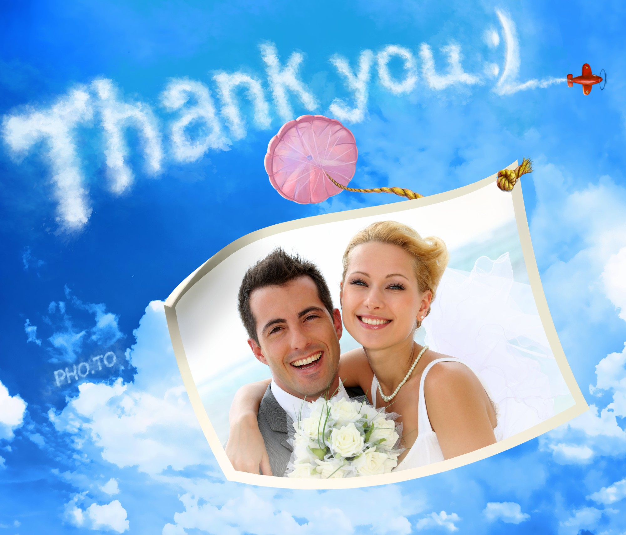 A wedding 'Thank you' photo card with happy newlyweds