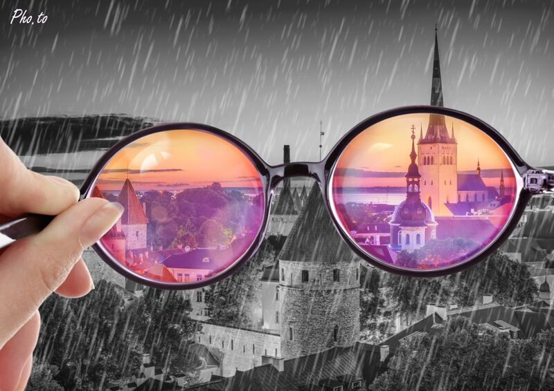 Two faces of one city: dreamy rosy and gloomy rainy.