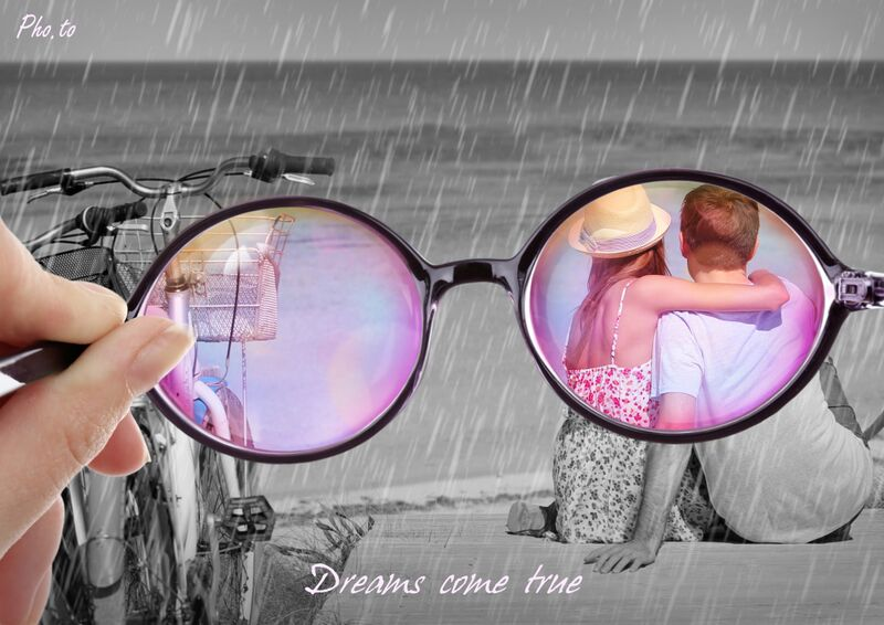 Look through the rose glasses at a happy couple on a beach.