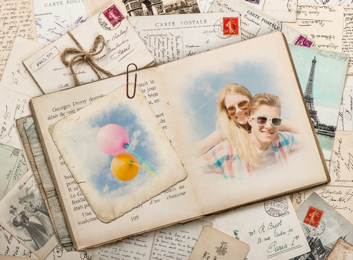 Retro-styled love collage with young happy couple.