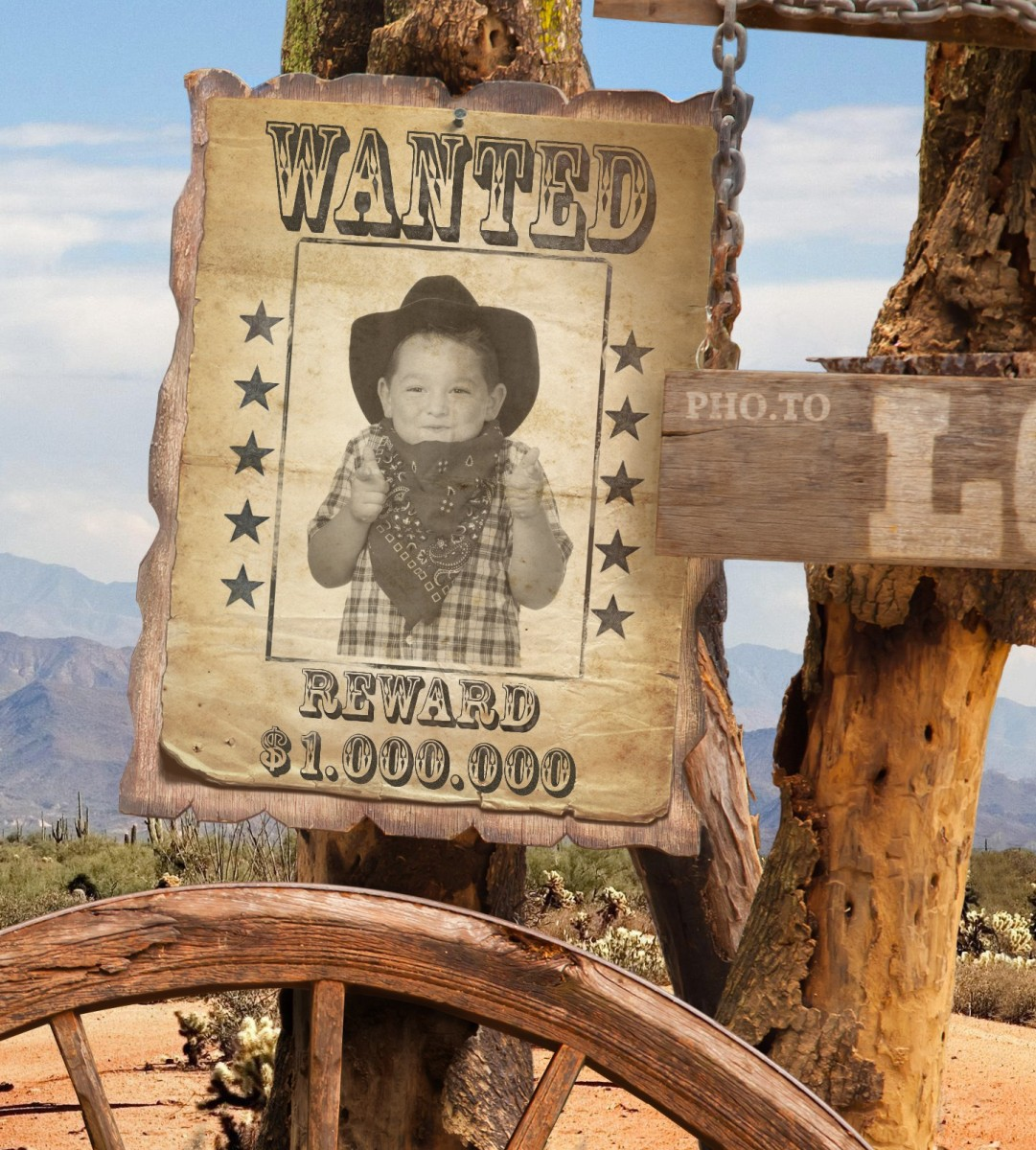 Cowboy Wanted poster created online on Funny.Pho.to