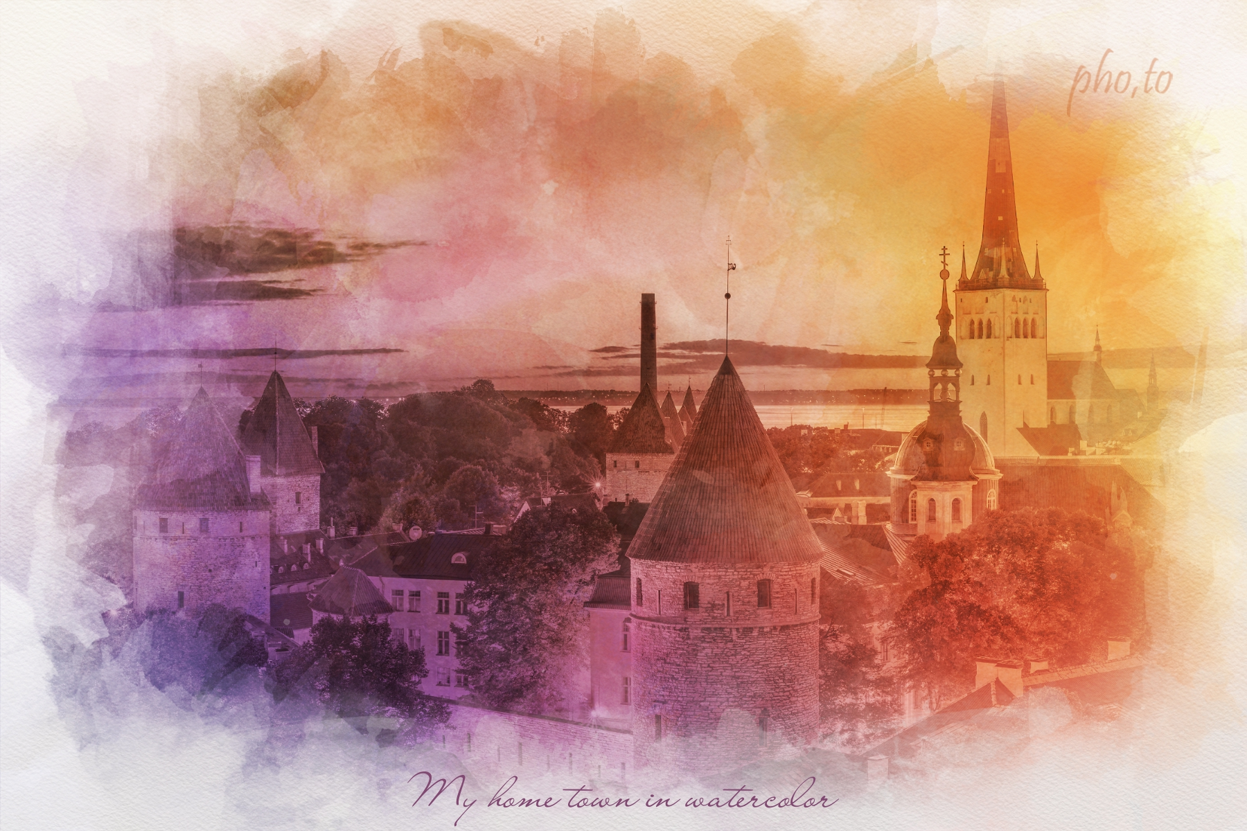 A cityscape photo turned into a watercolor painting in soft warm colors.