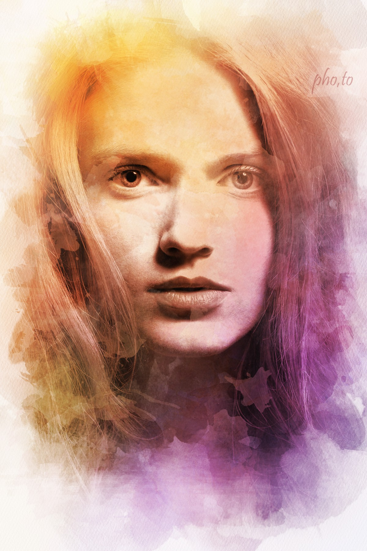A portrait of a beautiful girl in warm colors made with the help of a watercolor filter.