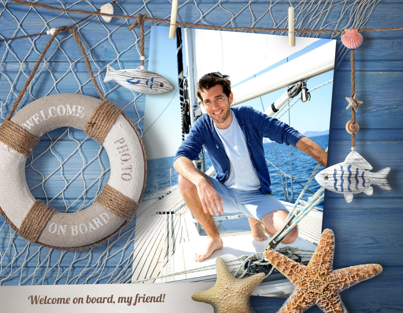 Nautical photo frame is a perfect decoration for vacation memories.
