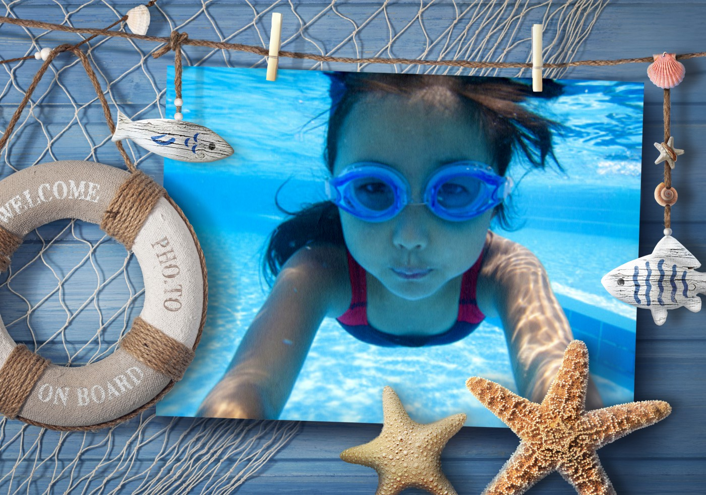Creative way to adorn your sea vacation photo: online nautical photo frame.