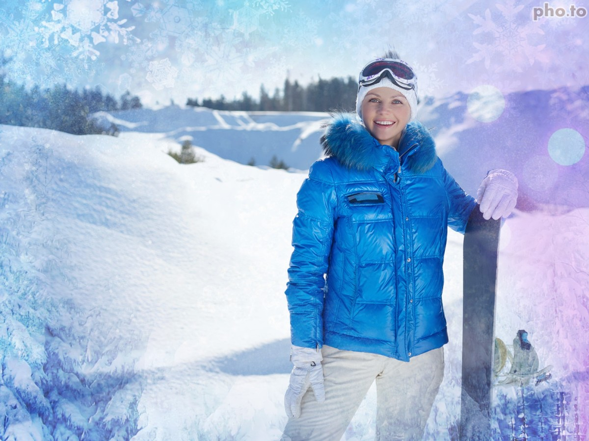 Skier's photo is enhanced with a personalized  snowflake background.