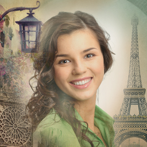 Paris photo frame. Change photo background online.