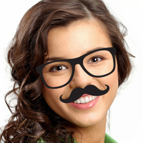 Add Vintage Glasses And Hipster Mustache To Your Face Photo